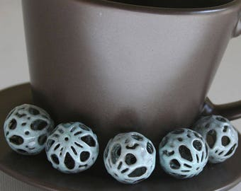 Foggy Blue Torch Fired Enameled Beads a Set of 5