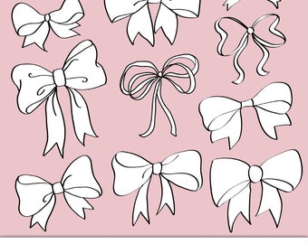 Clipart Bows. Set of 10. Digital Clipart Bows, Photoshop Brushes & Stamps.  Printable. Personal and Limited Commercial Use.