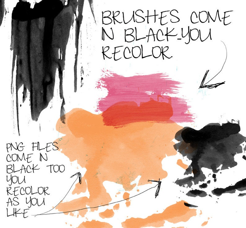 Instant Download Photoshop Brushes for Personal and Limited Commercial Use. Bold Wash Digital Brushes /& Stamps