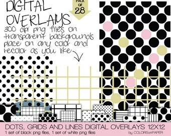 Digital Overlays Dots, Grids and Lines. 12x12 Png files. Instant Downloads. Personal and Limited Commercial  Use.