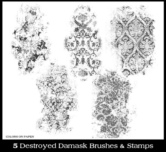 Digital Destroyed Damask Clipart, Photoshop Brushes & Stamps  Instant  Download  Personal and Limited Commercial Use