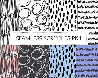 Seamless Handmade Doodle Designs Combo Pack, 8x8 seamless, 12x12 Png and Jpg Files. Personal and Limited Commercial Use.