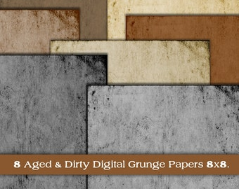 Grunge Digital Paper Pack. Aged & Dirty. 8x8. Instant Download. Digital Scrapbook. Personal and Limited Commercial Use.