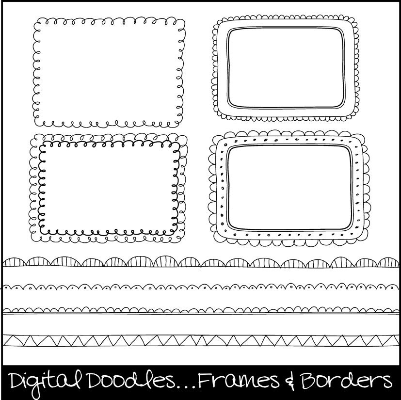 Digital Doodle Frames & Borders. Digital Clipart. Clipart Frames. Hand Drawn Frames. Instant download.