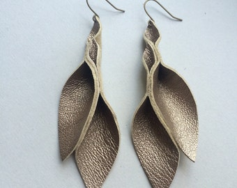 Smoky Gold leather petal earrings 3 inches