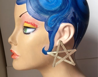Metallic Gold Star Statement Earrings