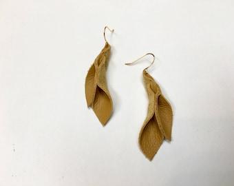 Dark yellow leather petal statement earrings 2 inch