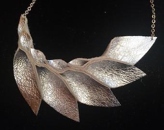 Petal Collection: Silver Lame Metallic Leather Petal Necklace