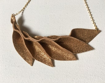 Metallic Bronze Leather Petal Necklace