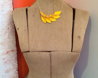 Petal Collection: Thick Yellow Leather Petal Necklace