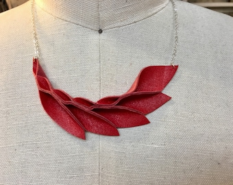 Red Leather Petal Necklace