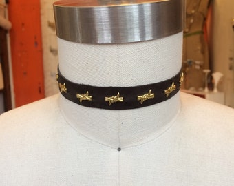 dark brown leather with brass barbed wire choker necklace