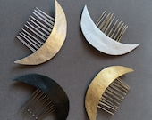 Leather Crescent Moon Celestial hair comb
