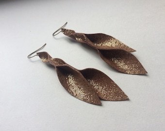 Brownish gold leather petal earrings 3 inches