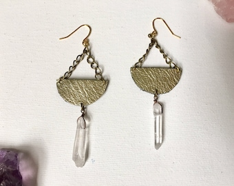 metallic gold leather and crystal quartz  statement earrings