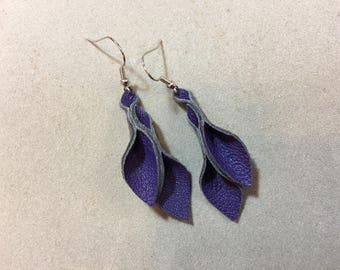 Petal Collection: violet leather petal earrings