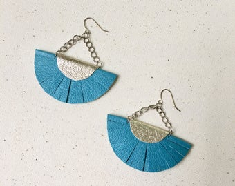 Turquoise Green and Gold Leather Half Circle Fringe Statement Earrings