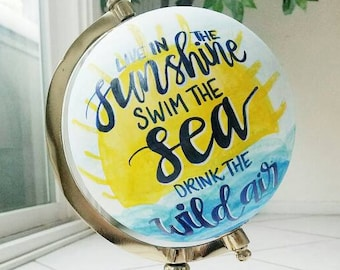 Custom painted globe Emerson quote Live in the sunshine Rustic Home Decor Shabby Chic Upcycled Maps Choose your design