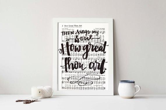 How Great Thou Art Hymnal Art Digital Art Diy Printable Hand Etsy