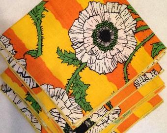 Set of Four New Vintage Orange and Yellow Napkins