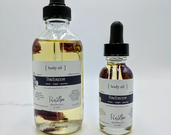 Organic Body Oil -Radiance: lavender, geranium, bergamot  - 1 or 4 oz, vegan