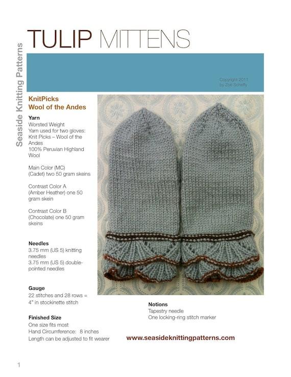 Tulip Mittens Pdf Knitting Pattern Etsy