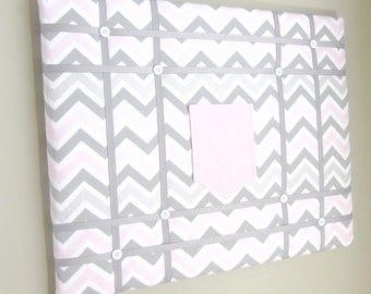 """16""""x20"""" French Memory Board With Pocket Pink Grey Chevron, Bow Holder, Bow Board, Vision Boad, Photograph Holder, Organizer, Vision Board"""