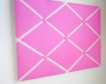 """16""""x20"""" Bright Pink  Memory Board, Bow Holder, Bow Board, Vision Board, Photo Display, Business Card Display, Ribbon Board-You Choose Ribbon"""