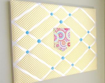 "16""x20"" French Memory Board With Pocket Yellow Polka Dot, Bow Holder, Bow Board, Vision Boad, Photograph Holder, Organizer, Vision Board"