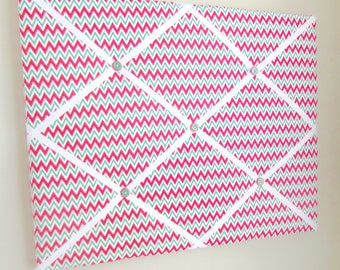 """Red & Green Chevron Memo Board 16""""x20"""" French Memory Board, Bow Holder, Bow Board, Vision Board, Photo Display, Business Card Display"""
