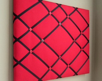 """16""""x20"""" French Memory Board, Bow Holder, Ribbon Board, Vision Board, Photograph Organizer, Business Card Organizer,  Red and Black"""
