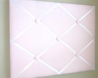 "16""x20"" Light Pink  Memory Board, Bow Holder, Bow Board, Vision Board, Photo Display, Business Card Display-You Choose Satin Ribbon"