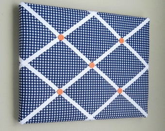 """11""""x14"""" French Memory Board, Bow Holder, Bow Board, Vision Boad, Photograph Holder, Organizer,Navy Blue Gingham, Boys Memory Board"""