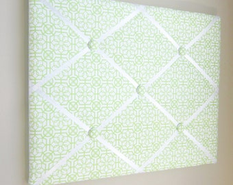 """Lime Green Trellis Memory Board 16""""x20"""" French Memory Board, Bow Holder, Bow Board, Vision Board, Photo Display, Business Card Display"""