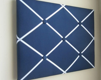 """16""""x20"""" French Memory Board, Bow Holder, Bow Board, Vision Boad, Photograph Holder, Organizer,Navy Blue and Light Blue Boys Memory Board"""