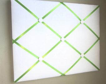 "16""x20"" White  Memory Board, Bow Holder, Bow Board, Vision Board, Photo Display, Business Card Display, Ribbon Board-You Choose Satin Ribbon"