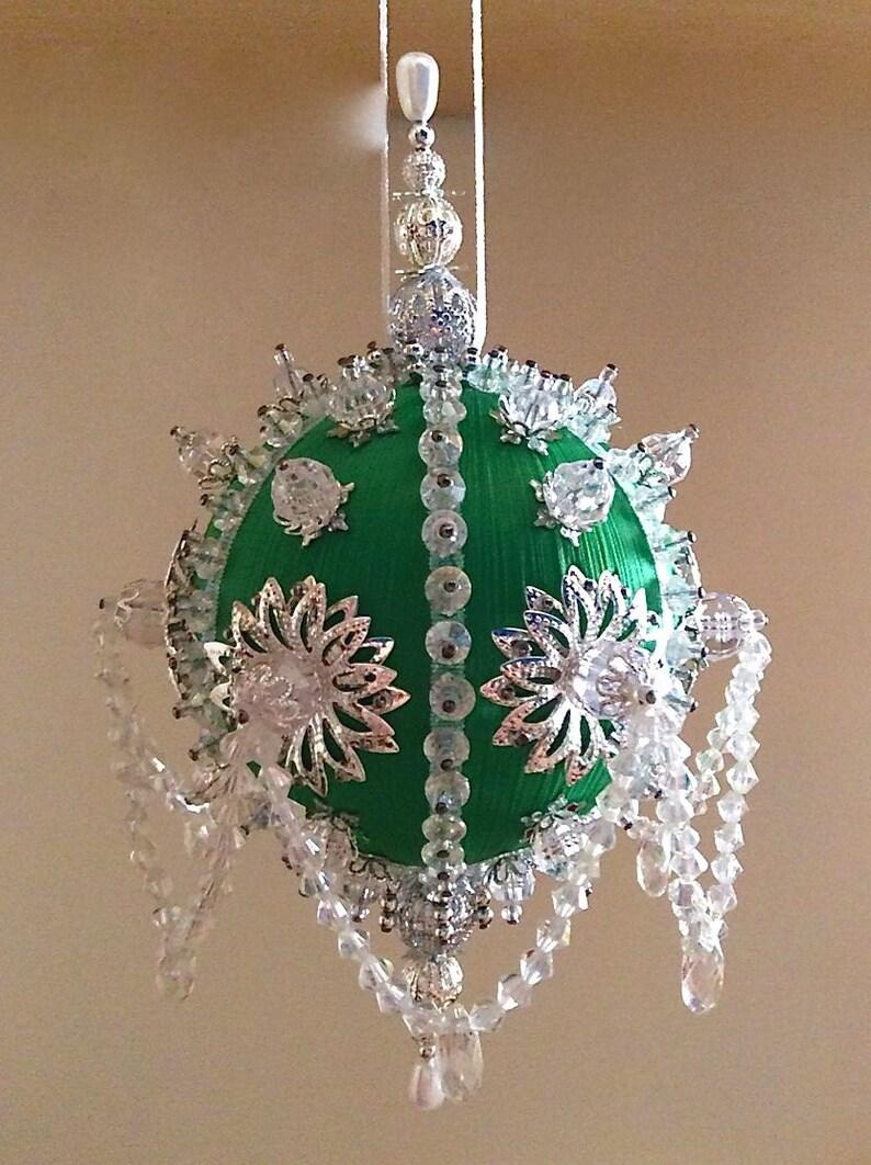 Satin Beaded Christmas Ornament Kit Icy Emerald