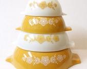 Vintage Butterfly Gold Pyrex Cinderella Mixing Bowl Set - Golden Butterfly Pattern