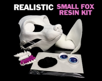 DIY realistic wolf resin mask base kit with nose, mesh, eyes, and jawset for animal costumes, fursuits, or mascots