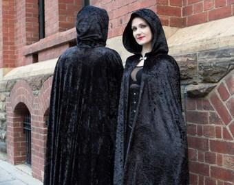 Long Black Crushed Velour Cloak
