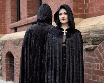 Medium Black Crushed Velvet Cloak