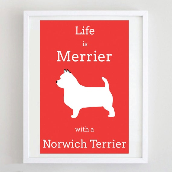 Norwich Terrier Wood Welcome Outdoor Sign Red
