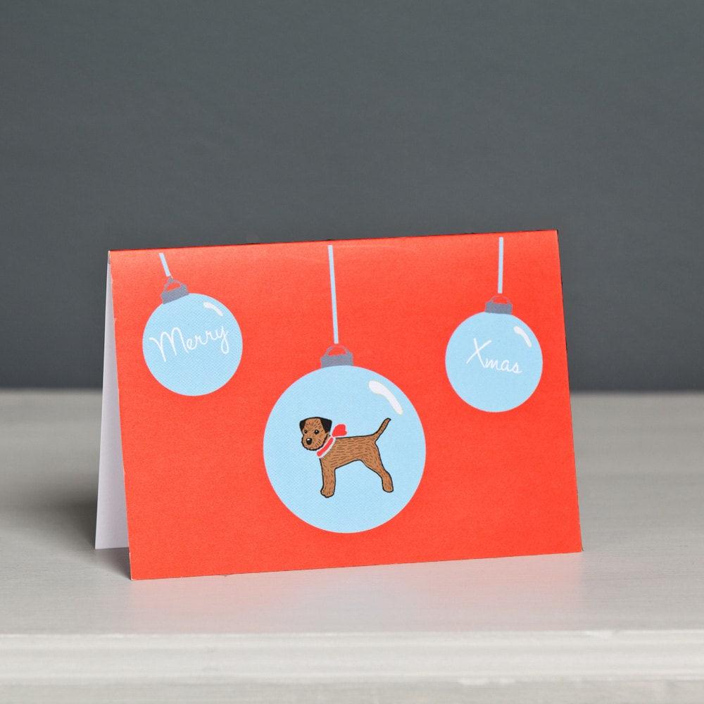 border terrier christmas card dog christmas card dog card