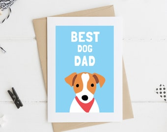Jack Russell Best Dog Dad Card, Jack Russell Terrier Card, Father's Day, Dad's Day