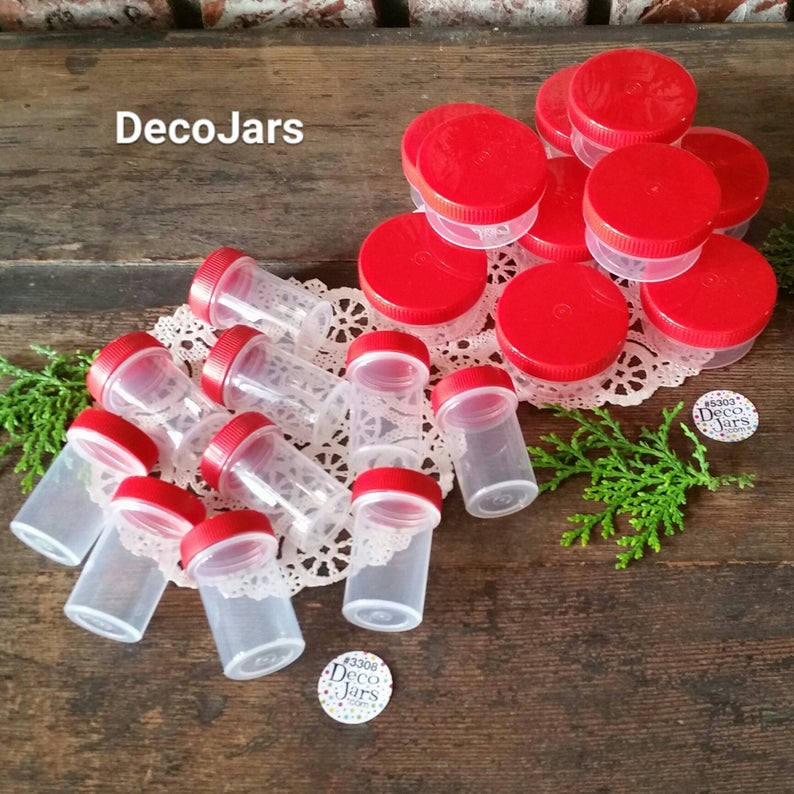 Hummingbird Feeder jars - 20 lot total - 2 sizes - 10 New empty low profile  1 ounce Screw Top Jar #5303 & 10 3/4oz red cap vials #3308