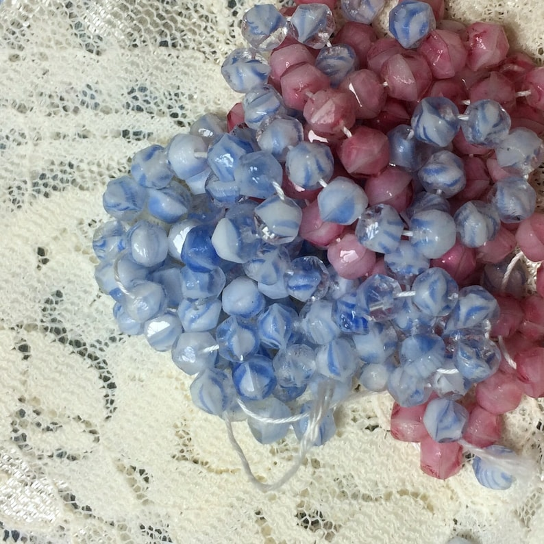 Little Beads Loose Small Faceted 4mm Bead Crafts Jewelry Making Beads 24 Vintage Japan Glass Beads Baby Blue Striped or Pink Little Beads