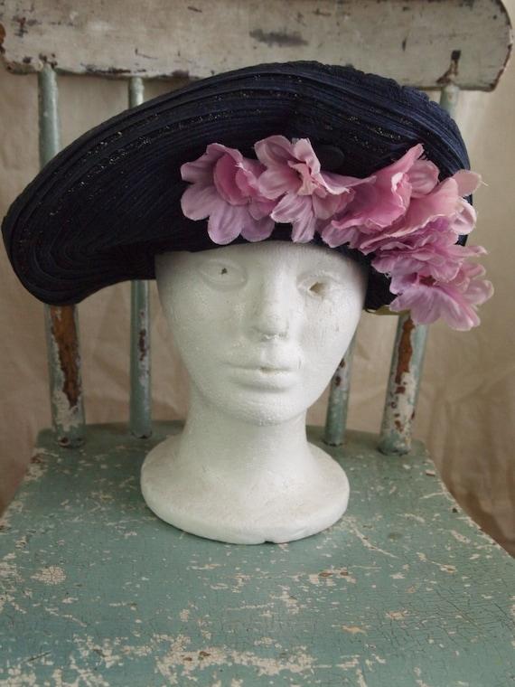 Vintage 40's Hat navy pink flowers New York Creati