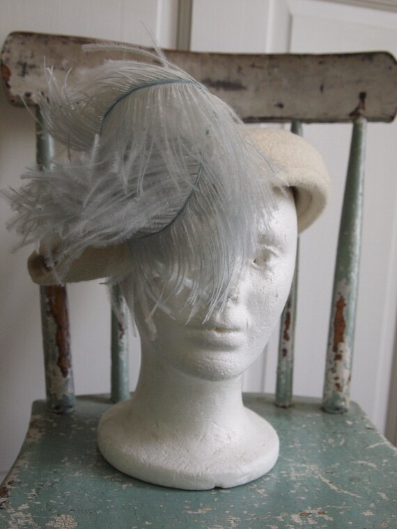Vintage 40s Sonni California hat ostrich feathers
