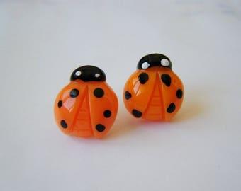 Earrings ladybugs Orange ♥ ♥