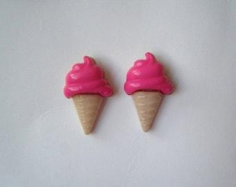 ♥ Raspberry ice cream cone earrings